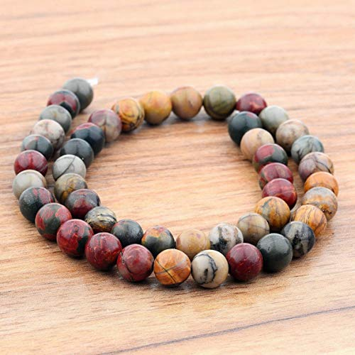 Mikash Natural Stone Gemstone Round Beads DIY Jewelry Making Bracelets Accessories 2018 | Model BRCLT - 8580 | Classical red-8mm