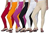 Clifton Women's Cotton Spandex Fine Jersey Leggings Pack Of 6-Assorted-3-7XL