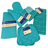 Kitchen Towel Set with 2 Quilted Pot Holders, Oven
