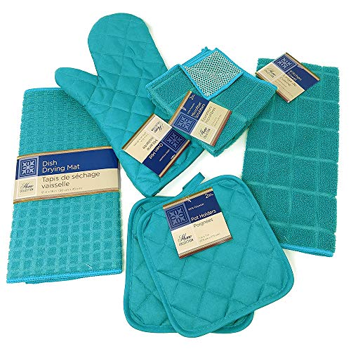 Kitchen Towel Set with 2 Quilted Pot Holders, Oven Mitt, Dish Towel, Dish Drying Mat, 2 Microfiber Scrubbing Dishcloths (Turquoise) (Teal Mat Kitchen)