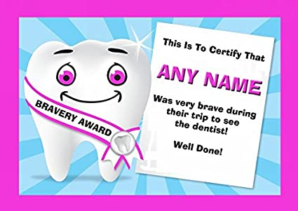 Amazon Dentist Visit Childrens Bravery Award Personalized
