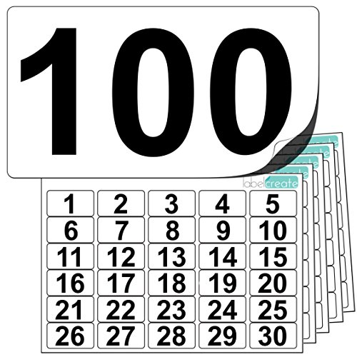 Premium Plastic Number Stickers 1 to 100 (+ 20 Blank Spares). Ultra Durable Label Stock. Suitable For Outdoor Use. 100% Waterproof. ()