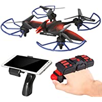 Pterosaur Drone 2.4GHz Six Gyro RC Quadcopter FPV WIFI Real-Time Video Remote Controlled Rechargeable Aircraft with HD Camera(Red and Black-FQ19)