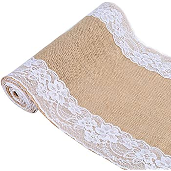 """12"""" x 108"""" Natural Jute Hessian Burlap Table Runner with Lace For Rustic Wedding Party Event"""