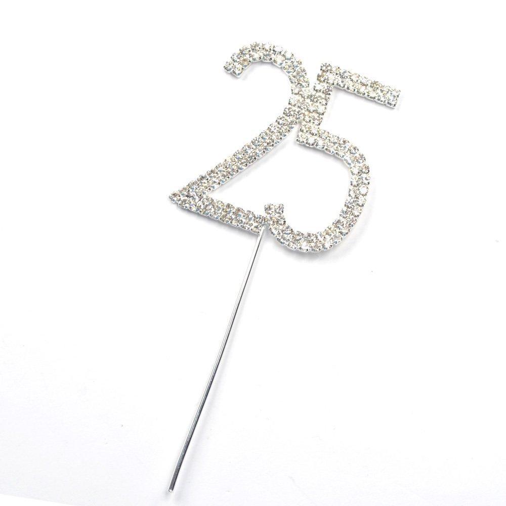Romote strass di cristallo d'argento numero 25 di compleanno e 25 ° Anniversario Cake Topper