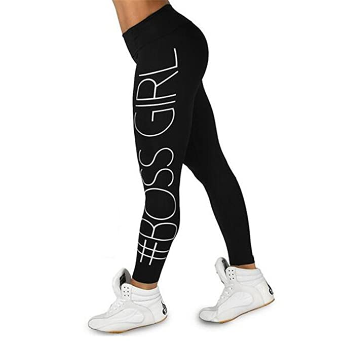 Womens Boss Girl Print Yoga High Waist Legging Fitness ...