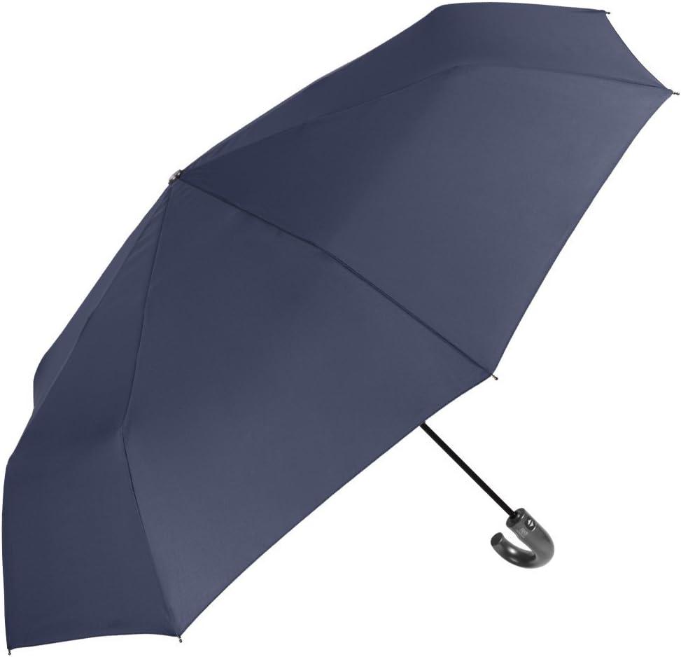 R/ésistant avec Traitement Teflon Parapluie Pliant Automatique Homme Mini Parapluie Pliable Compact Anti Vent et L/ég/ér Perletti Technology 118 de di/ámetro Bleu
