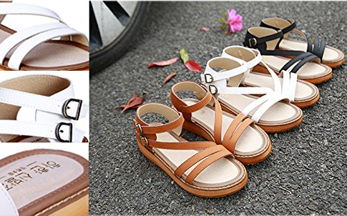 H&W Womens Real Leather Gladiator Flat Sandals Gum Rubber Soles White 78NaH
