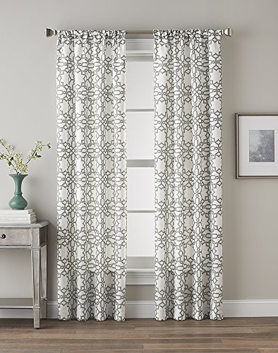 Eileen Gray Designs - CHF 1Q824506CK Lotus Harmony Curtain Panel, Charcoal, 63