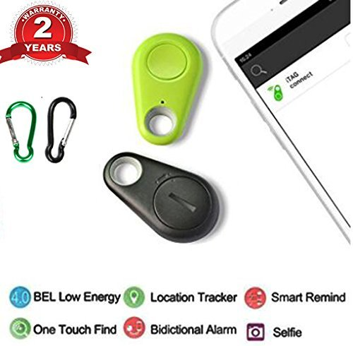 flyfishing Smart Finder Bluetooth Locator Wireless Anti Lost Alarm Sensor Spy GPS Tracker for Key Wallet Car Kids Pets Dog Cat Child Bag Phone Located Selfie Shutter(2PCS)