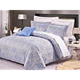 Abstract Floral Duvet Cover Set Grey/Blue (King)