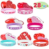28 Packs Kids Valentines Party Favors Set include 28 Silicon Rubber Bands Wristbands Filled Hearts and 32 Valentines Day Cards for Classroom Exchange Party Favor