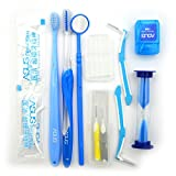 11 PCS Dental Orthodontic Patient Kit Ortho Care Kit Toothbrush Ties mirror Interdental Floss Oral Care Travel Kit