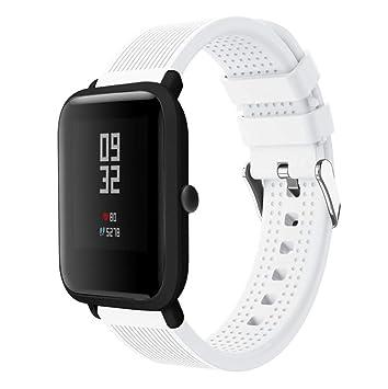 Saisiyiky Banda de Silicona Correa Compatible con AMAZFIT Bip Xiaomi Huami Pulsera/Ajustable para Smartwatch Reemplazo de Correa (Blanco)