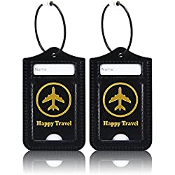 Luggage Tags, ACdream Leather Case Luggage Bag Tags Travel Tags 2 Pieces Set, Black