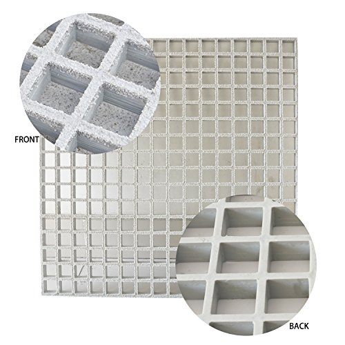 Eco Pultrusions FRP Sanded Anti-Slip Grating 48 inchx24 inchx1 inch Grey by Wellco Industries Inc.
