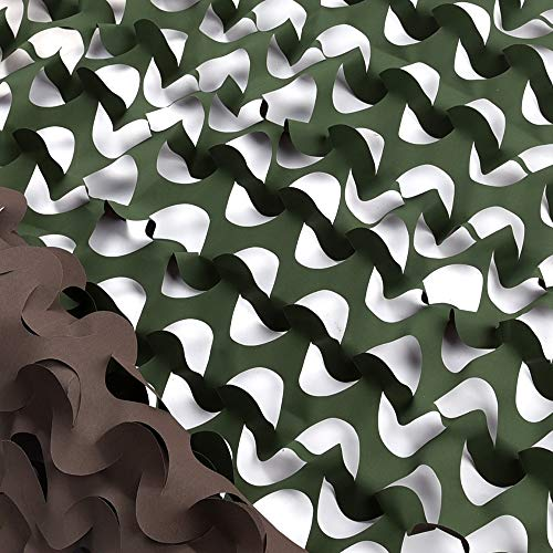 IUNIO Camouflage Netting Camo Net Blinds for Sunshade Camping Shooting Hunting Decoration (Green Brown - Reversible, 6.5ftx5ft 2mx1.5m)