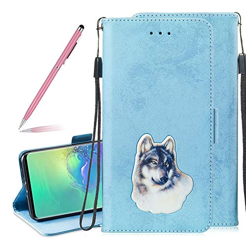 SKYXD Leather Wallet Flip Case for Samsung Galaxy S10 Plus, Premium Blue Vintage Card Slots Holder Protective Cover for Galaxy S10 Plus, Embedded Design Stand Wrist Strap Magnetic Clasp Case, Wolf