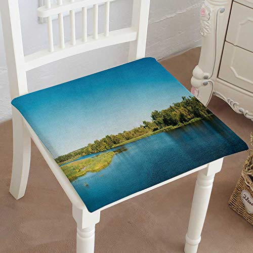 (Mikihome Chair Pads Classic Design Panorama of Lake Pond River at Summer Sunny Day Nature Cotton Canvas Futon 24