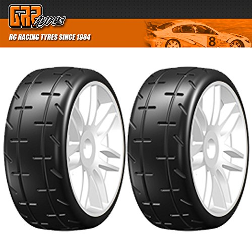 GRP GTH01-S5 1:8 GT T01 REVO S5 Medium Mounted Tires Spoked White Wheel (2)