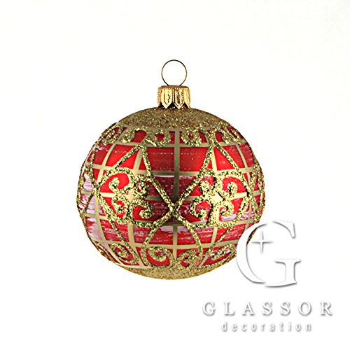 (Large ruby ball with gold lattice Christmas ornament)