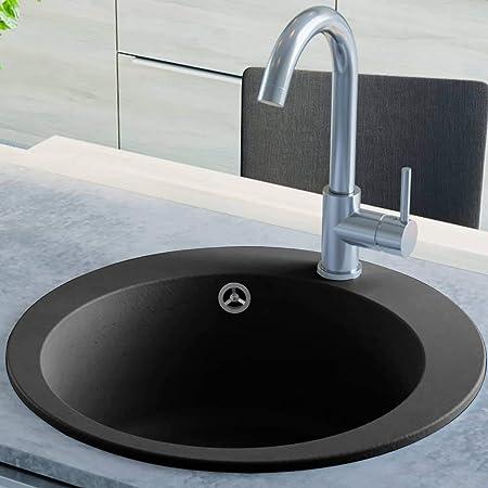 color negro redondo vidaXL 142956 Fregadero de granito