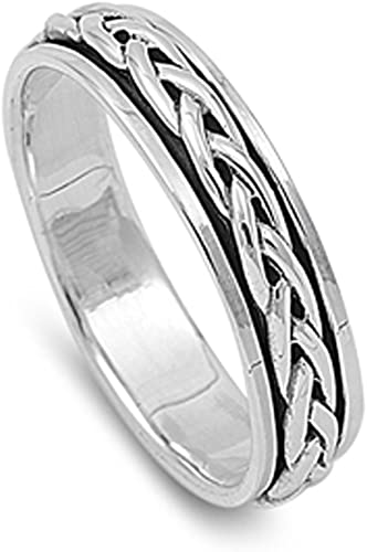 Men/'s Spinner Celtic Design Promise Ring New 925 Sterling Silver Band Sizes 4-14