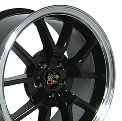 (OE Wheels 18 Inch Fits Ford Mustang 1994-2004 FR500 Style FR05B Black with Machined Lip 18x9 Rim)