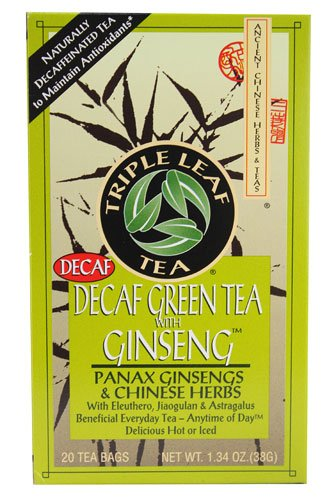 (Triple Leaf Tea Decaf Green Tea with Ginseng -- 20 Tea Bags - 2 pc)