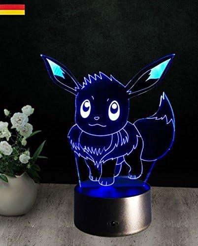 3d Pokemon LED evoli de lámpara de noche lámpara de mesa Luz Niños ...