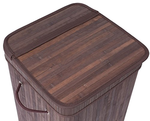 BirdRock Home Square Laundry Hamper with Lid and Cloth Liner | Bamboo | Espresso | Easily Transport Laundry Basket | Collapsible Hamper | String Handles by BirdRock Home (Image #7)