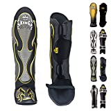 KINGTOP Top King Shin Guard Protector Empower Creativity Superstar Color Black White Size S M L XL for Protection in Muay Thai, Boxing, Kickboxing, MMA (Empower Black,M)