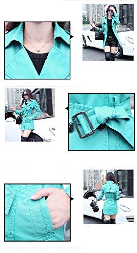 Bigood Avec Manteau Automne Femme Mode Léger Hiver Ceinture Veste Cuir Faux Vert wwAFqaxf