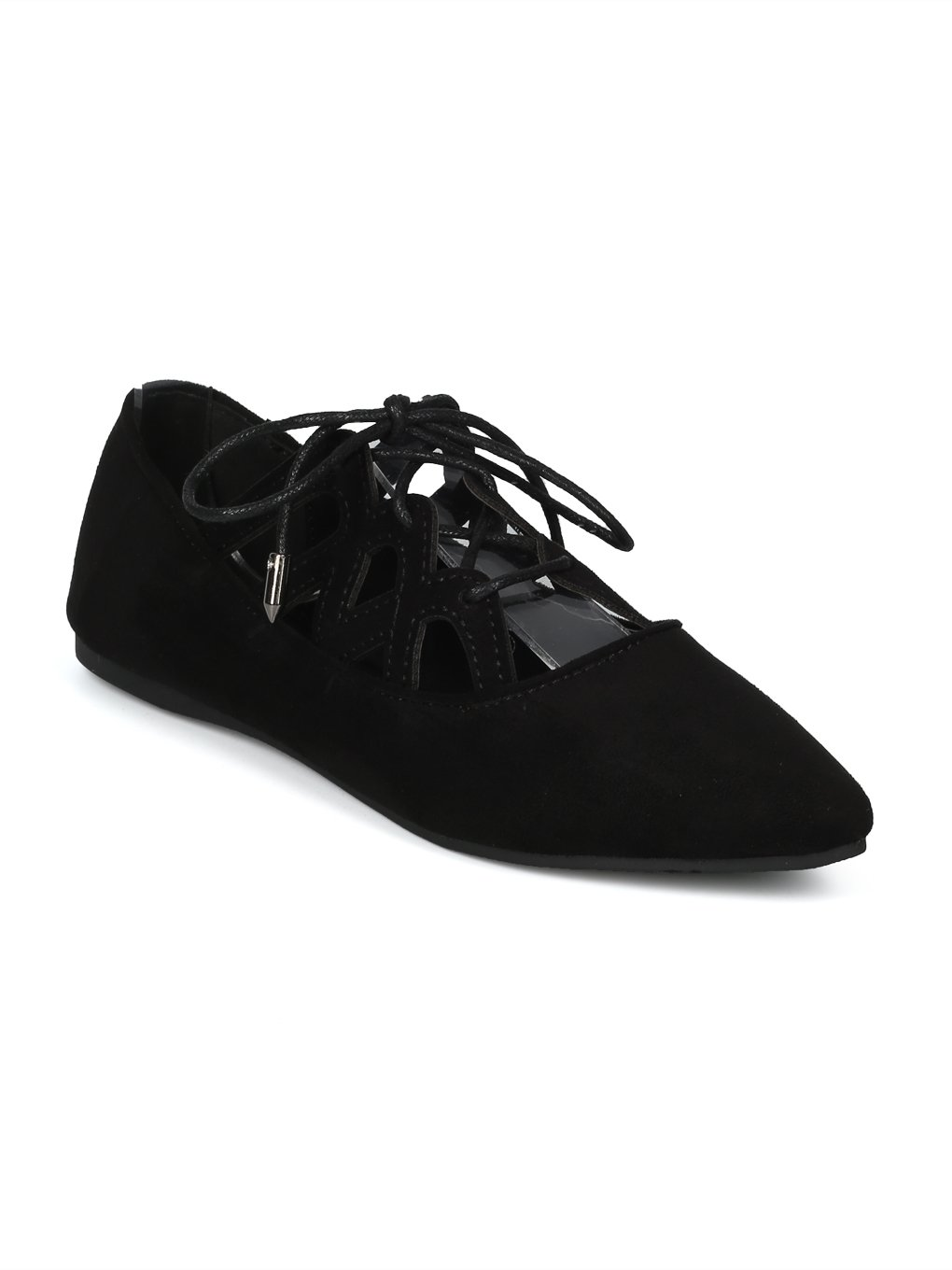 Alrisco Women Faux Suede Pointy Caged Lace up Flat HH91 B07D4QJV4R 8.5 B(M) US|Black Faux Suede