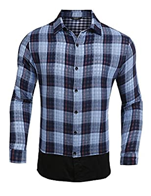 Coofandy Men's Casual Button Down Long Sleeve Plaid Dress Shirts For Fathers Day