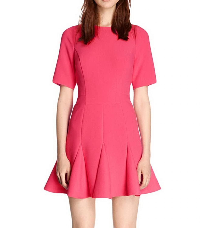 Singlevillage Women's Preppy Style Short Sleeve Fluted Hem Skater Dress Pink