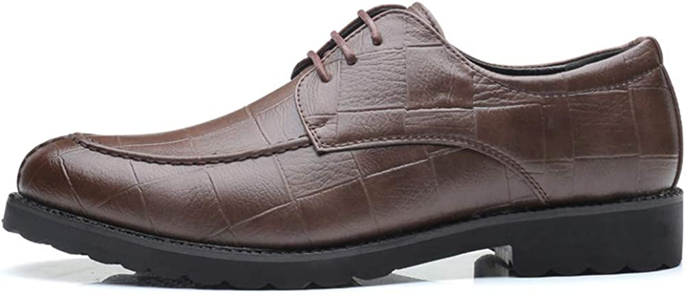 YLY Mens Fashion Oxford Casual Classic British Style Breathable Grid Pattern Lace up Formal Shoes Dress Shoes