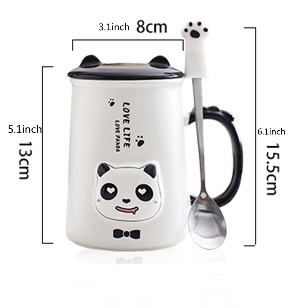 amao 350 ml, diseño de cerámica en blanco y negro panda taza de café, regalo perfecto para los amantes de la panda animal Navidad regalo de cumpleaños: ...