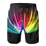 2018 pants Rainbow Peacock Painting Men's Beach Shorts Casual Swim Trunks Surf Board Pants with Pockets for Men