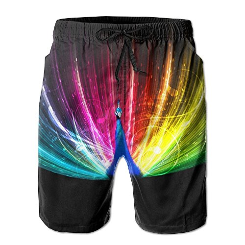 2018 pants Rainbow Peacock Painting Men's Beach Shorts Casual Swim Trunks Surf Board Pants with Pockets for Men by 2018 pants