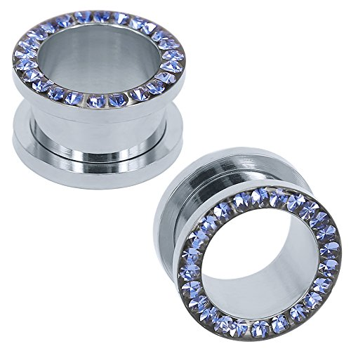 316L Stainless Steel Rhinestone Crystal Ear Tunnel Plugs Ear Gauges Expanders Body Piercing (Blue, 2g(6mm)) ()