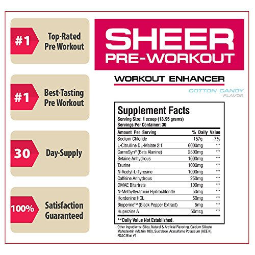 Sheer Strength Labs Sheer Pre Workout Supplement Cotton Candy 30 Servings