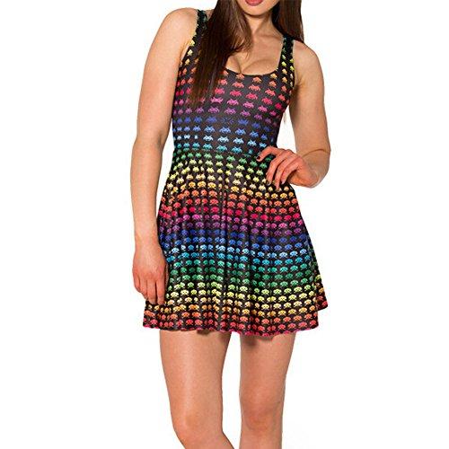 Taille Soir Courte Sexy e Patineuse sans Femmes SOTW D Manches Space Invaders Rainbow Collet Robe Unique 0U8w0PxqS