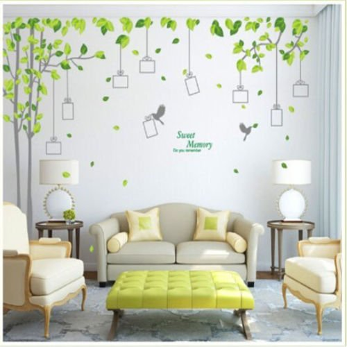 Wall Décor Stickers Removable Nine Frames Sweet Memory Green Leafs