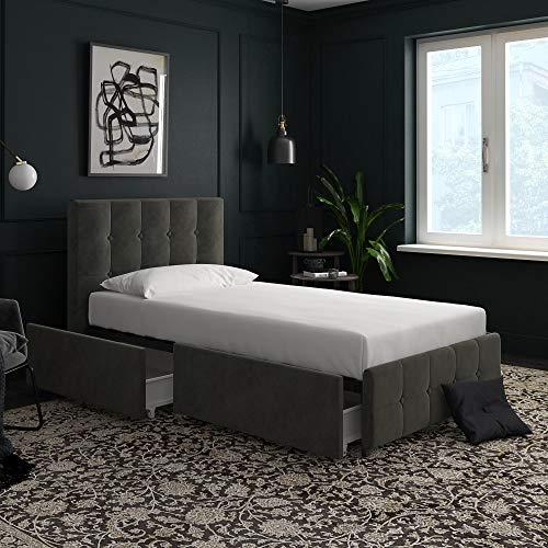 (DHP 4344419 Rose Storage, Grey Velvet-Twin Upholstered)