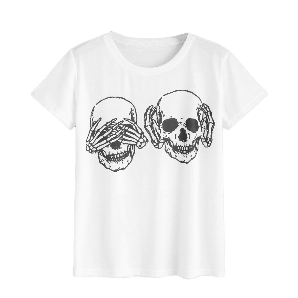 Summer Women Skull Printing T-Shirt Ladies Short Sleeve Casual Tops Tee Basic Tunic (S, White)