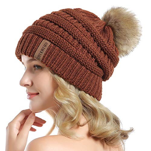 - QUEENFUR Women Knit Slouchy Beanie Chunky Baggy Hat with Faux Fur Pompom Winter Soft Warm Ski Cap