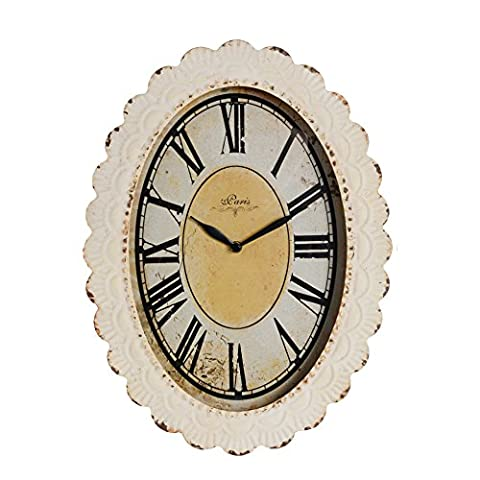 NIKKY HOME Oval Paris Decor Wall Clock, 18 by 13 Inches, Off-white, Antique Reproduction - French Country Living Room Furniture
