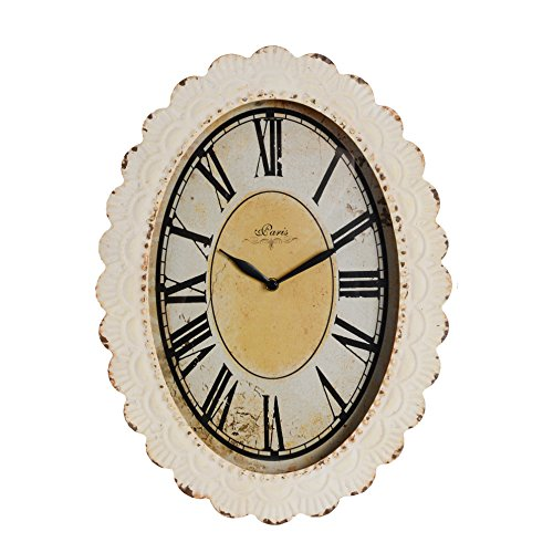 NIKKY HOME Paris Flower Wall Clock, 13-3/8″ x 2-3/4″ x 18-1/8″, Off-White Review