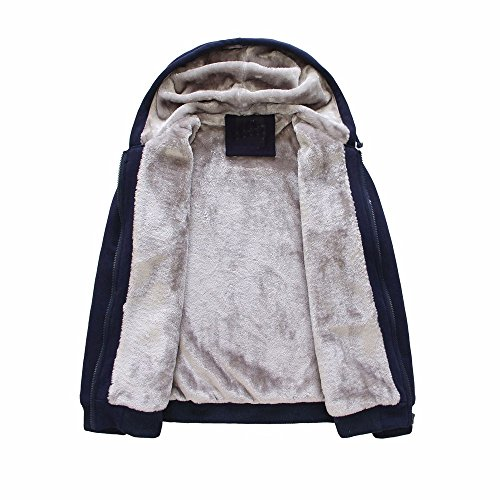 Toimothcn Mens Faux Fur Lined Coat Winter Warm Fleece Hood Zipper Sweatshirt Jacket Outwear (Blue3,L)